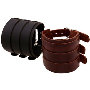 Wholesale Punk Wide Leather Bracelet Men Jewelry Cuff Rope Bangles Bracelets Gifts Black Brown Vintage Unisex Mens Jewellery Accessories