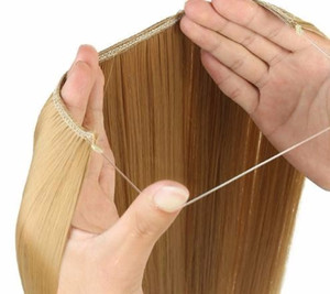 2019 Long Hair Pieces Synthetic Heat Resistant Fish Line No Clip In Hair Extensions Secret Invisible