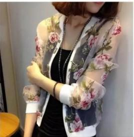 Wholesale Ladies Bomber Zip up Jacket Summer Organza Floral Printed Long Sleeve Perspective Sunscreen Sexy Outwear Women Casual Basic Coat