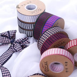 New Houndstooth Ribbon DIY Bow Hair Accessories Bouquet Wrap Ribbon Clothing Gift Box Decorative Plaid Cotton Ribbon Invitation Pocke on Sale