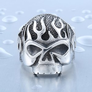 Classic Skull For Man Stainless Steel Men's Flame Fire Punk Ring Unique Personality Biker ring Jewelry Size:7-13#