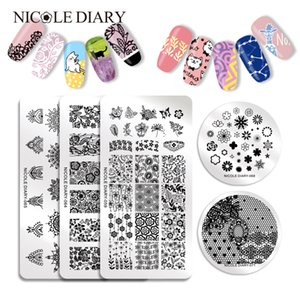 Wholesale 6pcs Nail Stamping Plates Rectangle Round Shape Round Moon Star Design Stainless Steel Nail Art Stamp Image Template