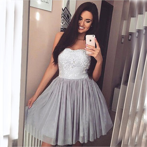 Wholesale New Arrival Homecoming Dresses Strapless A Line Short Mini Party Dresses For Prom Lace Appliques Beaded Tulle Custom Made Homecoming Gowns