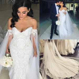 Wholesale bridal tulle shawl for sale - Group buy 2020 Pearls Mermaid Wedding Dresses With Shawl Robe de mariee Applique Beading Plus Size Wedding Gowns Court Train Sheath Bridal Dresses
