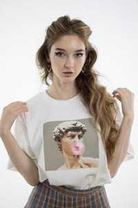 Wholesale bubble gums for sale - Group buy O Neck David Michelangelo Statue Bubble Gum Chewing Gum Print Tshirt Bubblegum Sculpture T Shirt Cotton Female Fashion Women Trend