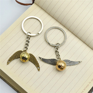 Wholesale Golden Snitch Key Ball Owl Wings Chain Harri Potter Quidditch Magic HP Hogwarts Keychain Pendant Fans Collection Gift B11