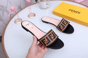 Wholesale F Women Sandals Designer Shoes Luxury Slide Summer Fashion Wide Flat Slippery Sandals Slipper Flip Flop size flower box