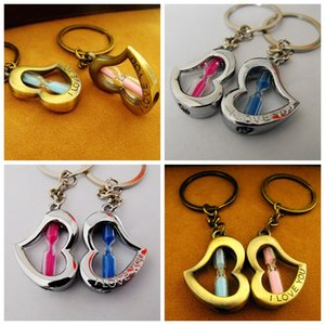 Wholesale car fob covers resale online - Romantic Heart Keychains Hourglass Auto Key Chains Rings Cover Fob Holder For Men s Car Keys Women Purse Charms Accessories