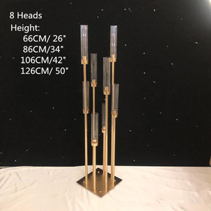 Wholesale wedding candelabra candlestick holders for sale - Group buy Metal Candlesticks Flower Vases Candle Holders Wedding Table Centerpieces Candelabra Pillar Stands Party Decor Road Lead EEA484