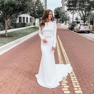 Wholesale 2019 Mermaid Satin Wedding Dresses Long Sleeves Bridal Gowns Diamonds Belt Bride Dresses Chaple Train Backless White Ivory Wedding Gowns