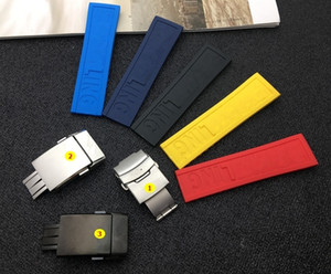 Wholesale Black Yellow Red Dark Blue Silicone Rubber Watch Band mm mm Watchband Bracelet For Navitimer avenger breitling Strap Tools T190620
