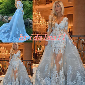 Wholesale Long Sleeve Blue Lace Mermaid Evening Dresses Sexy V Neck Applique Tulle Formal Celebrity Dress Overskirts Arabic Prom Dress Robe de soiree