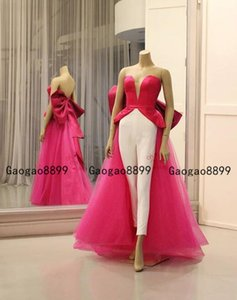 Wholesale 2019 Fuchsia and white jumpsuit Prom Dresses sweetheart stain With big bow back design cheap modest evening gowns sweep train custom made