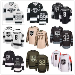 Custom Los Angeles Kings Jersey 99 Wayne Gretzky 8 Drew Doughty 11 Anze Kopitar 32 Jonathan Quick 17 Ilya Kovalchuk 77 Jeff Carter USA Flag on Sale