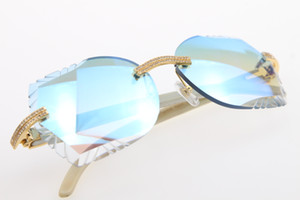 Wholesale Big Stones Glasses White Genuine Natural Horn 3524012 Rimless Sunglasses Unisex High end designer Glasses Carved Blue mirror Lens