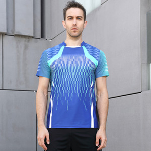 High Quality Blue Mens Running Sport Outdoor Fitness Gym Quick Dry Comfort Breathable Badminton Shirt,Men Table Tennis T Shirts on Sale