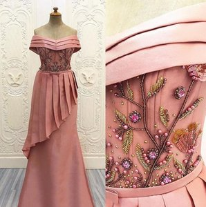 2019 fairy blush Evening Dresses sexy off shoulder beaded Embroidery prom gowns sheer african arabic fashion Party Dress gowns custom made on Sale
