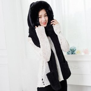 Wholesale Winter Fashion Scarf Hat Fluffy Hood Cap Ladies Faux Fur Winter Warm Fluffy Hood Scarf Hat Pocket Hats Gloves Fashion Cute