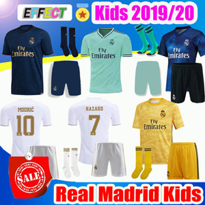 2019 Real Madrid Kids Kit Soccer Jerseys 19 20 Home HAZARD White Away 3RD 4TH Boy Child Youth Modric 2020 SERGIO RAMOS BALE Football Shirts on Sale