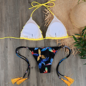Wholesale Micro Bikini Biquini Sexy Ruffle Swimwear Women Halter Push Up Brazilian Bikini Yellow Swimsuit Bandage Bathing Suit