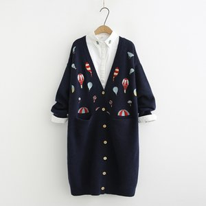 Wholesale Heavy duty color hot air balloon embroidery long Cardigan sweater mori girl autumn winterMX190928