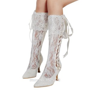 Wholesale MB Ivory Women Bride Shoes Knee high Wedding Party Pointy Toe Ribbon Med Heel Side Zipper Satin Soft Lace Bridal Boots