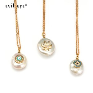 Wholesale EVIL EYE Pendant Necklace Golden Silver Long Chain Leaves Pearl Necklace Micro Pave Zircon Fashion Jewelry Gift for Women EY6271