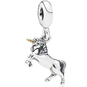 Wholesale High Quality Real S925 Sterling Silver Unicorn Horse Dangle Charms Pendant Fit For Pandora Bracelet DIY Bead Charm With Gold plated Horn
