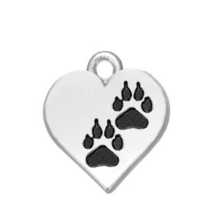 Wholesale JF061 Factory Price Antique Silver Dog Paw Print Heart Charms Fit DIY pendant Bracelet mm mm
