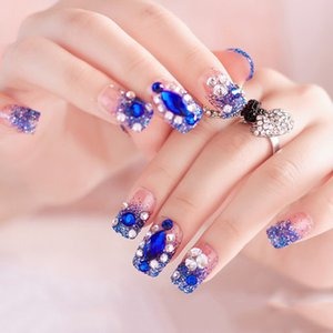 Wholesale 24PCS Blue White Full Nail Tips False Nails Color Jump Crystal Pearl Fake Nail Tips Manicure Artificial Finger Decor