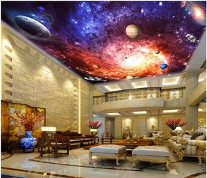 Wholesale High Quality Custom photo wallpaper d ceiling murals wall papers Beautiful dreamy colorful universe galaxy zenith ceiling mural wall paper