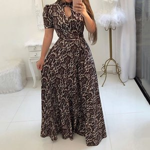 Wholesale Summer Sexy Club Party Beach Gray Plus Size Women Long Party Casual Hollow Print Leopard White Female Fashion African Maxi Dress