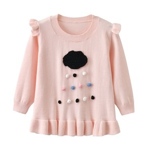 Wholesale Auro Mesa Kids Girls Black Clouds Rains Pullover Sweater Long Sleeve Crew Neckline Cotton Sparkle Ruffle Pink Sweater M Y