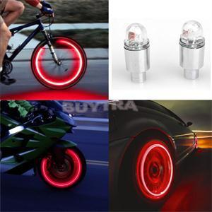 Wholesale Blue Red LED Light Lamp For Bike Bicycle Car Motorcycle Wheel Valve Stem Cap Tire Motion Neon