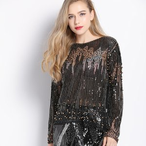 Wholesale Runway Sexy Sequined Bead Sheer Mesh Lace Long Sleeve Shirt Vintage Diamonds Embroidery Embellished Blouse Top Women Tunic