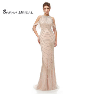 2019 Available Crystals Back High Split Champagne Mermaid Prom Dresses Sexy Backless Tulle Evening Party Gowns Maxi Dress 5403 on Sale