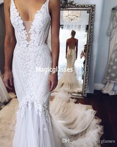 2020 Berta pallas couture Mermaid Wedding Dresses Deep V Neck Sexy Back Unique Lace Sweep Train Summer Spring Bridal Gown Custom Made