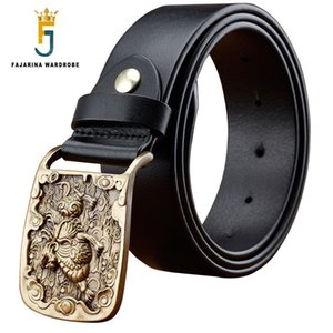 Wholesale FAJARINA Unique Design Fire Pattern Brass Slide Buckle Belts Quality Cowhide Genuine Leather Belt for Men Jeans N17FJ385
