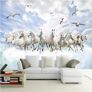 Wholesale 3d horse paintings for sale - Group buy White horse wallpapers D wallpapers three dimensional landscape TV background wall decoration painting