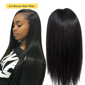 4x4 Lace Front Human Hair Wigs 150Density Brazilian Peruvian Indian MalaysianRemy Straight Hair Natural Black Lace Front Wig For Black Women