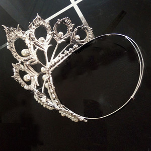 Wholesale Himstory New Arrival Big Size Miss Universe Same Crown Full Round Adjustable Silver Pearl Peakcock Feather Tiara Pageant