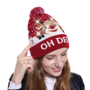 Wholesale Fashion LED Light up Knitted Christmas Tree Beanie Knit Sweater Christmas Santa Claus Beanie Hat for Adult