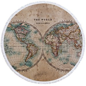 Wholesale Compass Round Beach Towel World Map Towel With Bag Large for Adult D Print Retro Toalla Tassel Yoga Mat cm