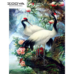 ZOOYA DIY 5D Full Round Diamond Painting Embroidery Diamond Mosaic animal Red-crowned crane Cross Stitch Home Decor