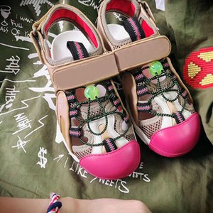 Wholesale Fashion and Quality in New European Classic Style Ladies Sandals Flat soled Slippers Fashion Shoes Water drill decorative mesh leather