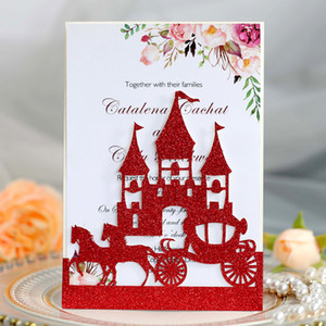 Wholesale wedding invitation purple gold for sale - Group buy Red Glitter Castle Flora Print Laser Cut Wedding Invitations with Envelope Red Gold Purple Silver Personalized Print Bridal Shower Invites