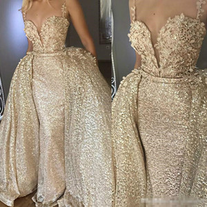 Wholesale 2019 Shiny Champagne Sequin Abiye Mermaid Long Formal Evening Dresses With Detachable Train Flower Lace Plus Size Prom Party Gowns Cheap
