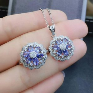 Wholesale MeiBaPJ Natural Tanzanite Flower Jewelry Set Solid Silver Necklace Ring Wedding Jewelry for Women