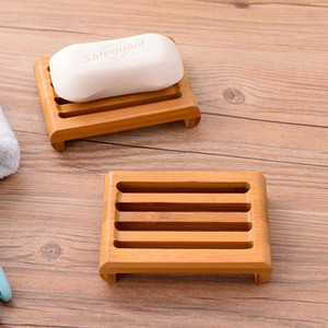 Natural Bamboo Soap Dishes Tray Holder Bathroom Soap Rack Plate Box Container