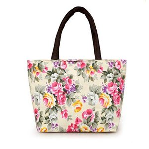 Wholesale Women Fashion Lunch Bag Insulation Flower Print Package Portable Waterproof Lunch Bags With Rice Box Container